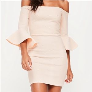 Missguided off the shoulder blush/nude dress